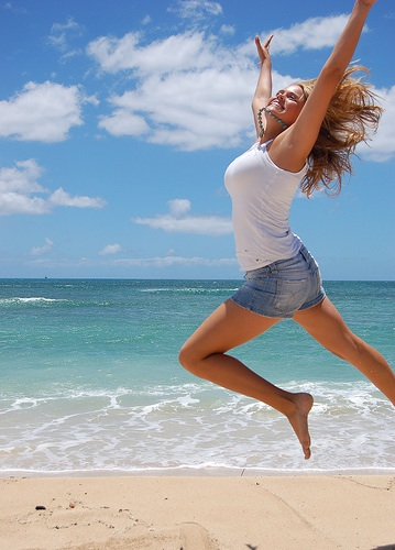 Beach jump for joy