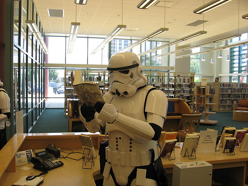 Stormtrooper in Library